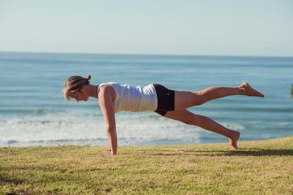 Plank with leg raise, opposite leg