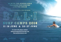 BALI SURF CAMPS 2014 with Wahine on Waves, Fi Duncan, and Girls on Boad, Jenny Mikota. For girl surfers.