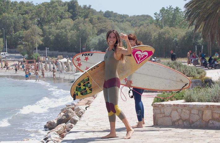 Greek female surfer, Effie Vrakas featured on Salt Gypsy